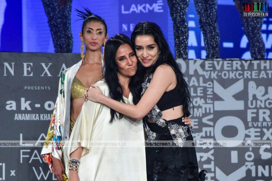 Shraddha Kapoor walks the ramp for Anamika Khanna at the Lakme Fashion Week 2021